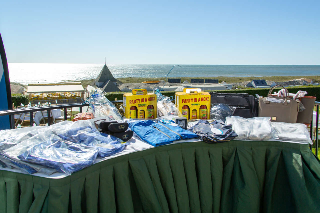 Prize table set up during brunch overlooking the Atlantic Ocean